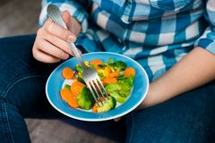 Girl with a plate of vegetables in hands. Healthy eating concept. A girl in jeans and a plaid shirt. Casual Style. Proper nutrition. Diet. Health. Vegetarian Stock Images