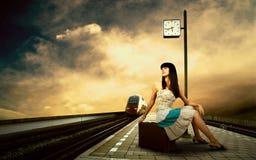 Girl on the platform Stock Photo
