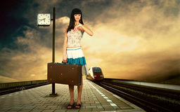 Girl on the platform Stock Photography