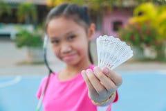Girl play badminton Royalty Free Stock Photos