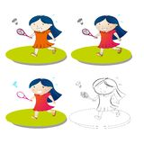 Girl play badminton Stock Photo