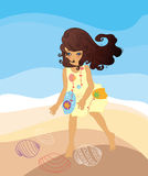 A girl play on beach Royalty Free Stock Image