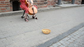Girl play cello money Royalty Free Stock Images