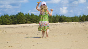 Girl play in clean sea beach Stock Photo