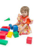 Girl play cubes Royalty Free Stock Photography