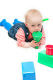 Girl play cubes Stock Photos