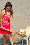Girl play dog Royalty Free Stock Images