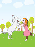 Girl play dog fun. Illustration abstract happy time girl play dong fun happiness green natural background Royalty Free Stock Photography