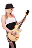 Girl play electric guitar Royalty Free Stock Image