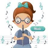 Cartoon Girl Playing Flute Stock Illustrations – 120 ...