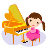 Girl play the piano. Cartoon  illustration Royalty Free Stock Photo