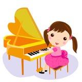 Girl play the piano. Cartoon illustration vector illustration