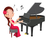 Girl play the piano. Beautiful girl play the piano. cartoon vector illustration Stock Image