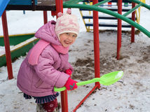 Girl play at playground Stock Image