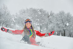 Girl play with snow Royalty Free Stock Photo
