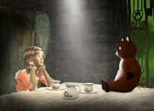 Girl Play, Tea Party, Make Believe. Illustration of a young little girl has a make believe tea party with a teddy bear Royalty Free Stock Photos