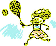 A girl play with tennis ball. A child play with tennis ball cartoon image Stock Images