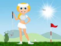 Girl play to golf Royalty Free Stock Images