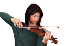 Girl play violin studio shot stock images
