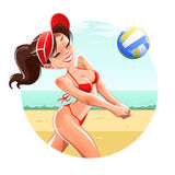 Girl play volleyball on beach Royalty Free Stock Images