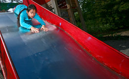 Girl on a playfield in Denmark Royalty Free Stock Photos