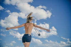 Girl Playfully Spinning In The Sun Stock Photography