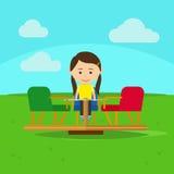 Girl on playground cartoon vector illustration Royalty Free Stock Image