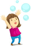Girl playig bubbles Stock Images