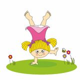Girl playing. In the garden. girl room sticker Stock Photography