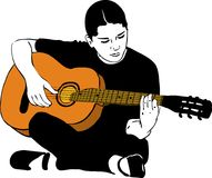 a girl playing on an acoustic guitar Royalty Free Stock Image