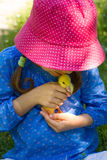 Girl playing with baby duck Stock Photo