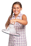 Girl playing badminton Royalty Free Stock Photo