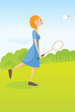 Girl playing badminton Royalty Free Stock Images