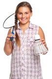 Girl playing badminton Stock Images