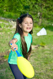 Girl playing badminton Royalty Free Stock Image