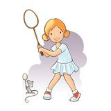 Girl playing badminton Royalty Free Stock Photos
