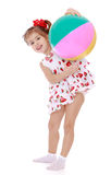 Girl playing with ball Royalty Free Stock Photography