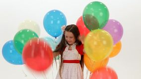 Girl Playing With Balloons stock video