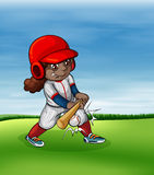 Girl playing baseball outdoor Stock Images