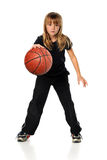 Girl Playing basketball royalty free stock images
