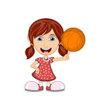 Girl playing basketball cartoon vector illustration Royalty Free Stock Photo