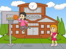A girl playing basketball at the school while the other watching cartoon Stock Photos