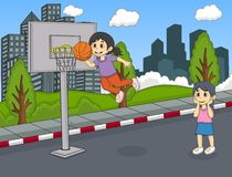A girl playing basketball at the street cartoon Royalty Free Stock Image