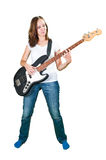 Girl playing bass guitar isolated on white Royalty Free Stock Photos