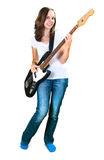 Girl playing bass guitar isolated on white Stock Photos