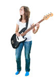 Girl playing bass guitar isolated on white Stock Photography