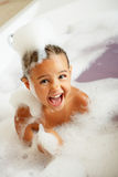 Girl Playing In Bath. Laughing Stock Photos