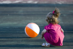 Girl playing with Beach ball Stock Photos