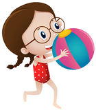 Girl playing with beach ball Royalty Free Stock Photography