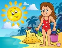 Girl playing on beach image 2 Stock Photo